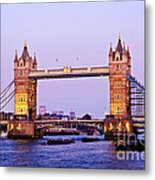 Tower Bridge In London At Dusk Metal Print