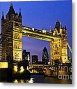 Tower Bridge In London At Night Metal Print