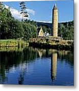 Tower Near A Lake, Round Tower, Ulster Metal Print