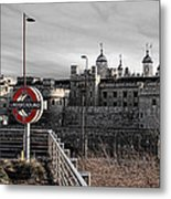 Tower Of London With Tube Sign Metal Print