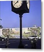 Town Clock Metal Print by Sally Weigand