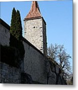 Town Wall And Tower - Rothenburg Metal Print