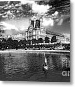 Toy Boating In A Parisian Park Bw Metal Print