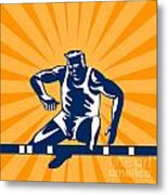 Track And Field Athlete Jumping Hurdles Metal Print by Aloysius Patrimonio