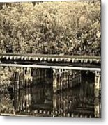 Track On The River In Sepia Metal Print