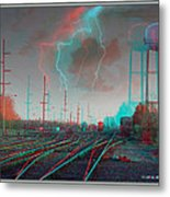Tracking The Storm - Red-cyan Filtered 3d Glasses Required Metal Print