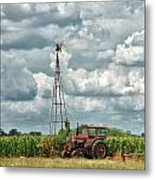 Tractor And Old Windmill Metal Print