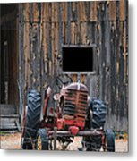 Tractor And The Barn Metal Print