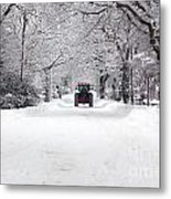 Tractor Driving Down A Snow Covered Road Metal Print