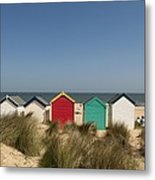 Traditional Beach Huts In The Sand Metal Print