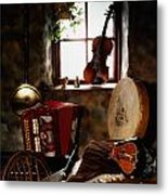 Traditional Musical Instruments, In Old Metal Print