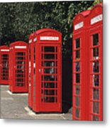Traditional Red Telephone Boxes In London, England Metal Print
