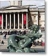 Trafalgar Square With Fountain Metal Print
