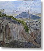 Trails End - Rocks Trees And Sky Metal Print