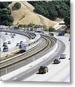 Train And Motorway, California, Usa Metal Print by Martin Bond