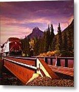 Train Going Over A Bridge Banff Metal Print