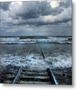 Train Tracks Into The Sea Metal Print