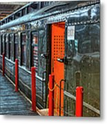 Trains - Side Of Rail Car In Round House Metal Print