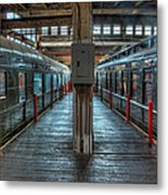 Trains - Two Rail Cars In Roundhouse Metal Print
