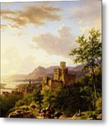Travellers On A Path In An Extensive Rhineland Landscape Metal Print