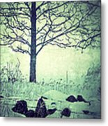 Tree And Fence In The Fog And Snow Metal Print