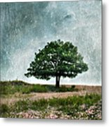Tree And Wildflowers  Metal Print
