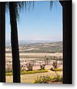 Tree Blocking View Of Garden And Valley And Ice-capped Mountains Metal Print
