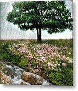 Tree By Stream Metal Print