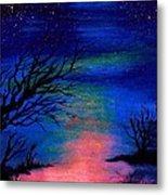 Trees At Night Metal Print
