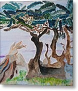 Trees By The Sea Metal Print