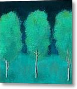 Trees In Triplicate Moonlit Winter Metal Print by Robin Lewis