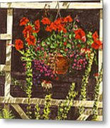 Trellis Flower Pot Metal Print