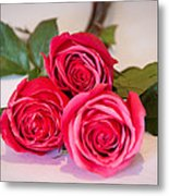 Trio Of Pink Roses Metal Print