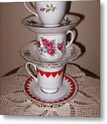 Trio Of Valentine Tea Cups  Metal Print