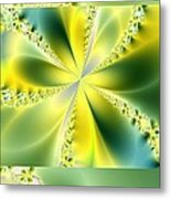 Triplicate Vertical Yellow Blossoms Metal Print