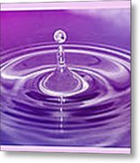 Triptych Water Drops In Purple And Pink Metal Print