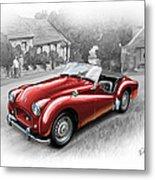 Triumph Tr-2 Sports Car In Red Metal Print by David Kyte