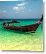 Tropical Boat Metal Print