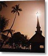Tropical Church In Silhouette Metal Print