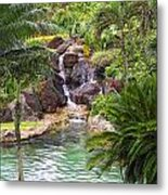 Tropical Garden Waterfall Metal Print