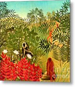 Tropical Jungle By Henri Rousseau Metal Print by Pg Reproductions