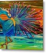 Tropical Peacock Metal Print