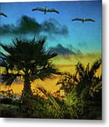 Tropical Sunset With Pelicans Metal Print