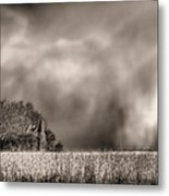 Trouble Brewing Bw Metal Print