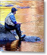 Trout Fisherman In Autumn Metal Print