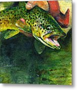 Trout In Hand Metal Print