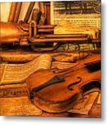 Trumpet And Stradivarius At Rest - Violin - Nostalgia - Vintage - Music -instruments  Metal Print by Lee Dos Santos