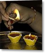 Trying To Light An Oil Lamp That Has Gone Out Metal Print