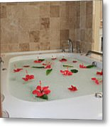 Tub Of Hibiscus Metal Print