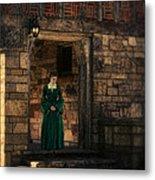 Tudor Lady In Doorway Metal Print